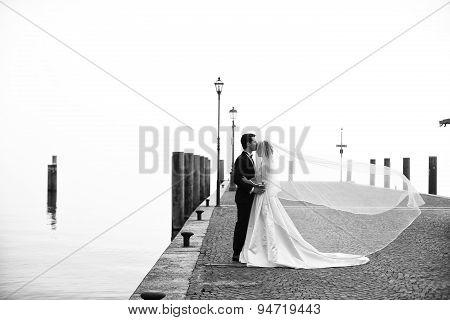 Bride And Groom On Wooden Bridge