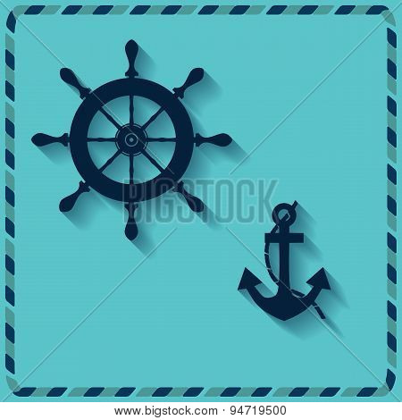 Nautical Wheel And Anchor