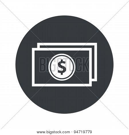 Monochrome round dollar bill icon