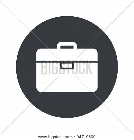Monochrome round briefcase icon