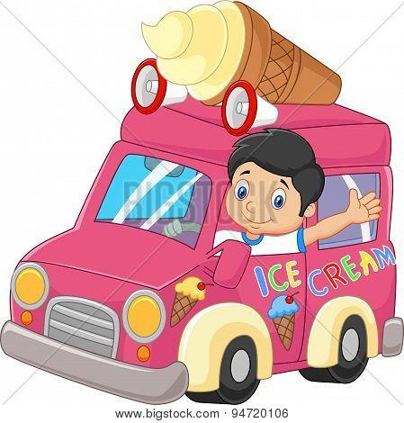 Cartoon little boy driving car and waving