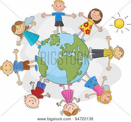 Cartoon children world over