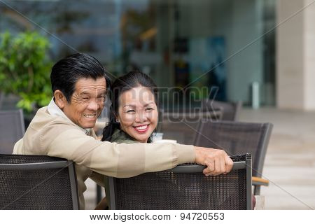 Couple in outdoor cafe