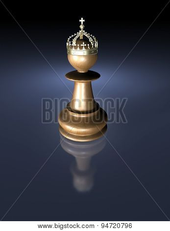Chess Wood King With Crown