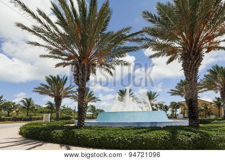 Image Of Palm Trees Around A Water Fountain.