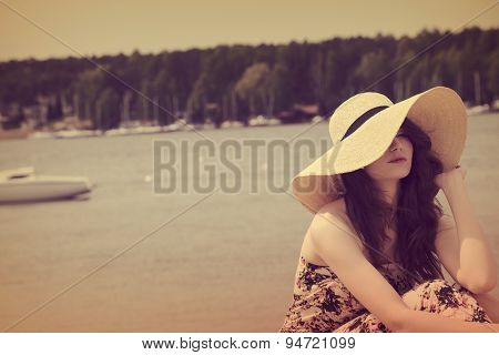 Vintage Color Effect , Sweet Portrait Of Summer Girl Near Lake