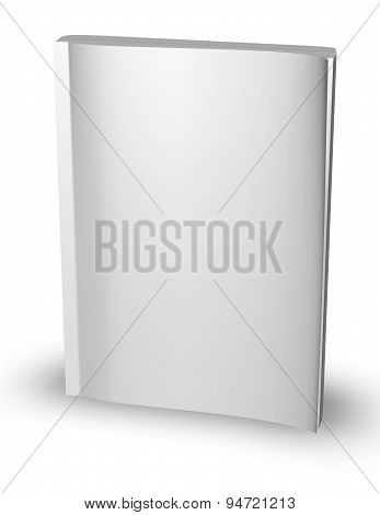3D Empty Paper Magazine, Diary Template Standing With Blank Cover Isolated On White