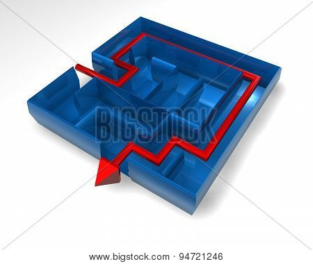 3D Blue Maze Render With Red Arrow