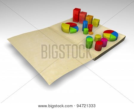 Financial Report With Charts 3D Render Illustration Isolated