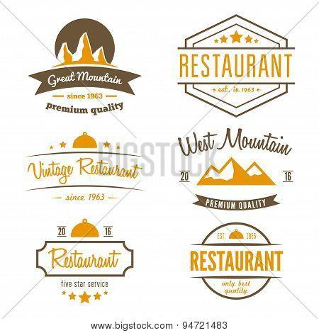Set of different logo, label, emblem, badge and logotype elements for restaurant, cafe, cafeteria, b