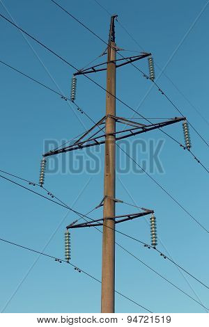 Power Line Against Bright Sky