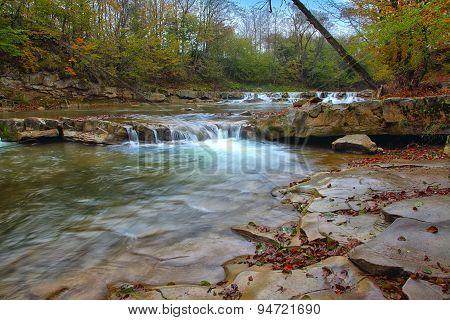 Mountain Stream In Autumn