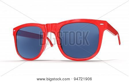 Red Sun Glass Isolated Over The White Background.