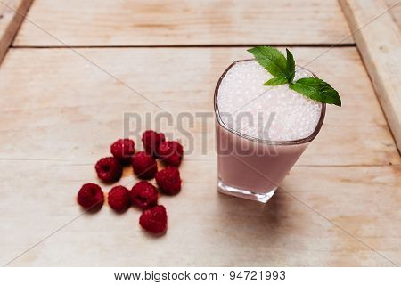 Raspberry Smoothie Fresh Blended On Summer Wood Table