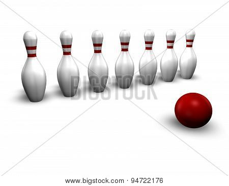 Aim, Strategy Concept With Bowling Game, 3D Illustration