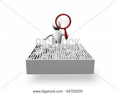 Person Solving Problem, Searching Answers, Making Research