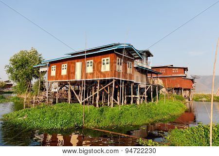 Floating Village House In Inle Lake, Myanmar