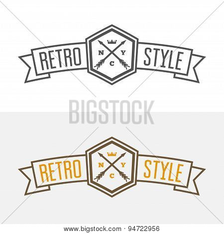 Retro Vintage Insignia or Logotype Vector design element, business sign template with arrows