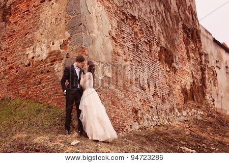 Bride And Groom Against A Bricked Wall