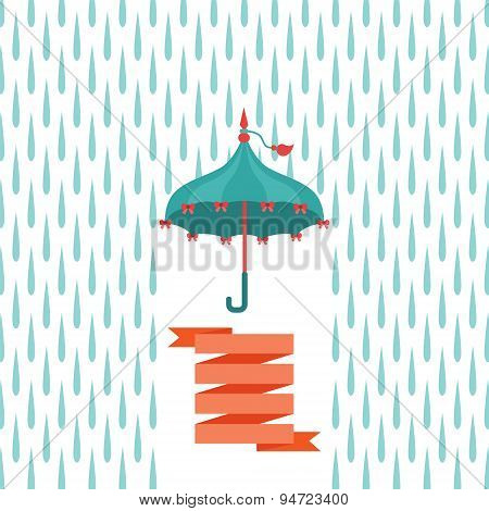 Vector Multicolor Flat Umbrella Over Rain Drops.
