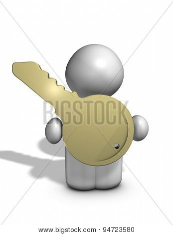 3D Guy With A Key To Success, Universal Problem Solution Concept