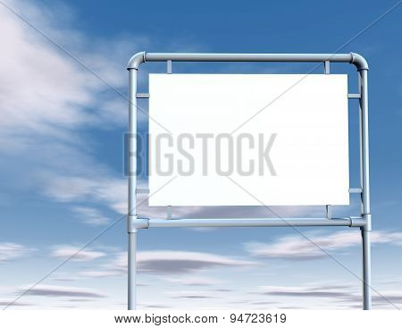Blank City Sign With Empty Copy Space And Sky Background