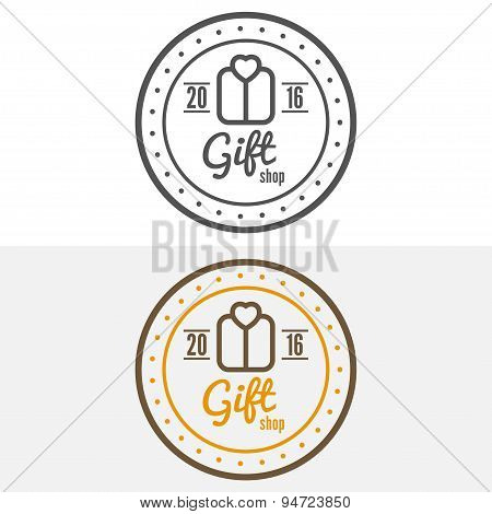 Set of vintage logo, label, badge and logotype elements for gift shop, jewelry, corporate or company