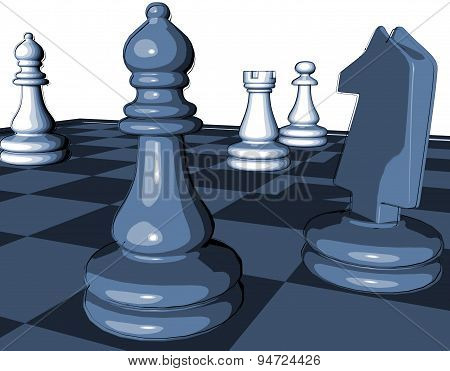 Chess Game Blue Graphic Illustration With Pawns And Chess Horse