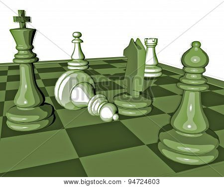 Chess Game Graphic Illustration With Pawns And Chess King And Chessboard