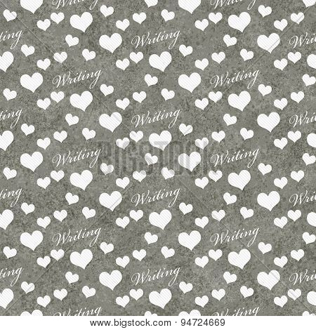 Gray And White I Love Writing Tile Pattern Repeat Background