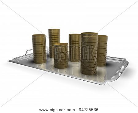 Earning, Gaining Money Concept With Coins On The Plate Isolated