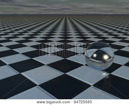 Abstract Surreal Background With Chessboard