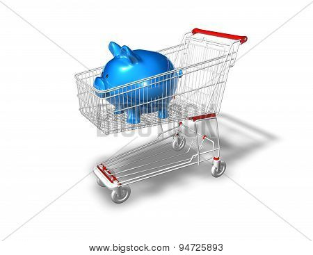 Economic Shopping With Piggy Bank Concept