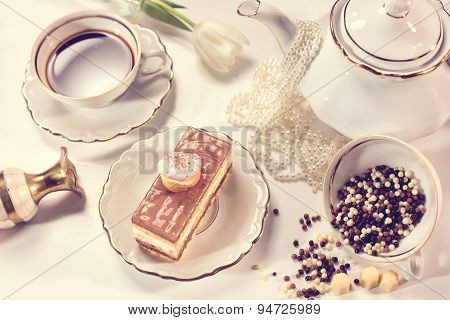 Tiramisu Cake On Beautifully Deocorated Table