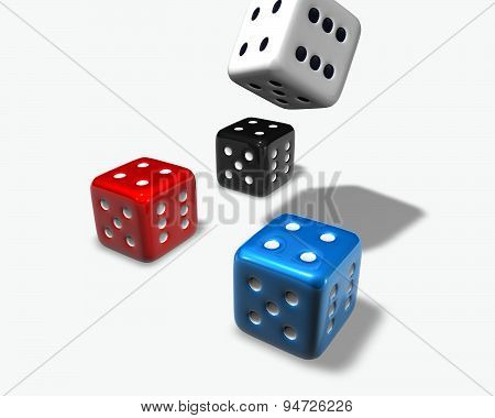 Game Concept With Colorful Dices Isolated
