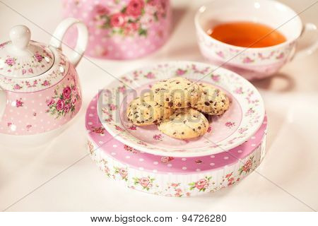 Cookies On Floral Plates