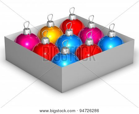 Colorful Christmas Baubles Illustration