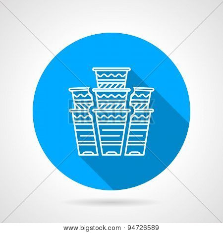 Disposable cups blue round vector icon
