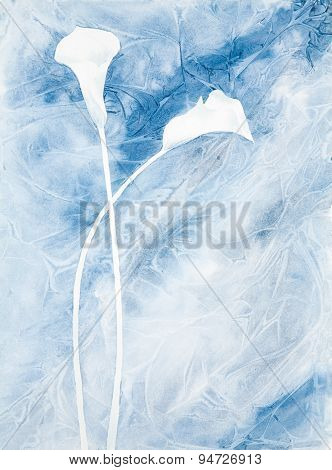 watercolor painting of two calla lilies in blue color scheme