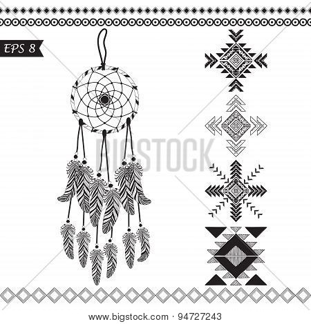 Hand drawn monochrome vector tribal elements