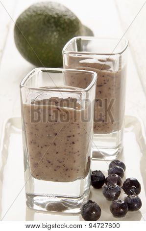 Blueberry Avocado Smoothie In A Glass