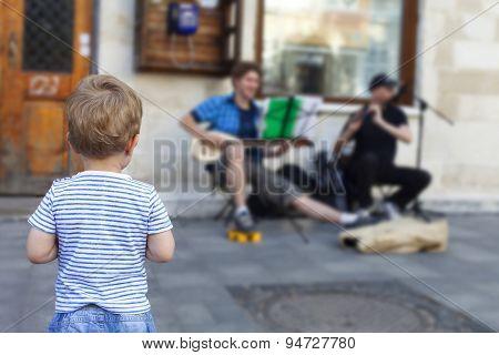 Boy Listening Street Music