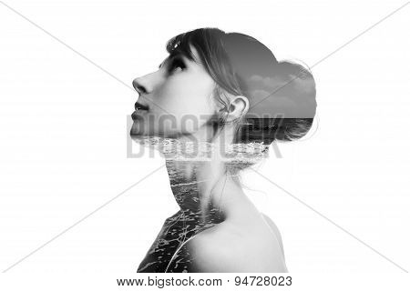 Double Exposured Photo Of Beauty Woman And Sea Isolated On White Background. Collage