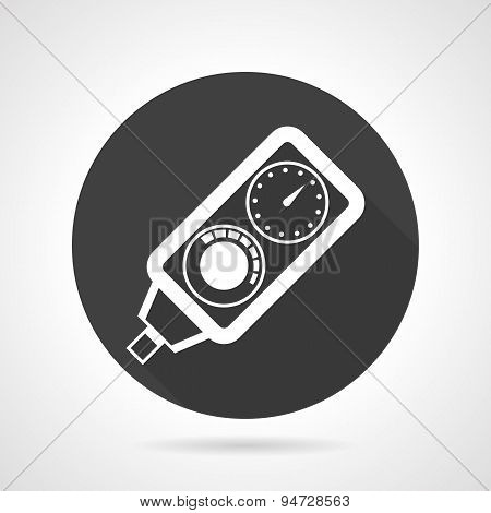 Diving console black round vector icon