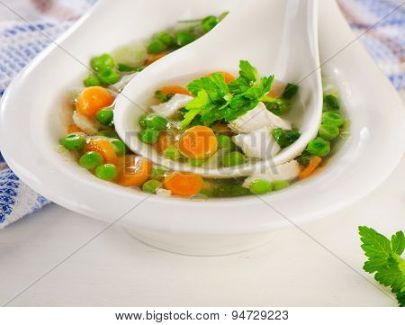 Chicken Soup With Vegetables In  Bowl.