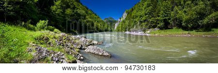 Panoramic View Of The Dunajec River In The Pieniny Mountain
