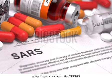 SARS Diagnosis. Medical Concept.