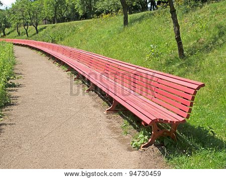 Red Bench In A Park