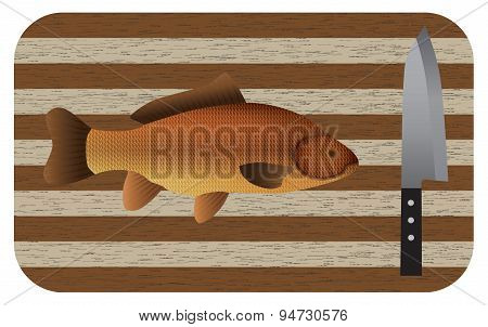 Fish And  Knife On A Chopping Board. Top View.