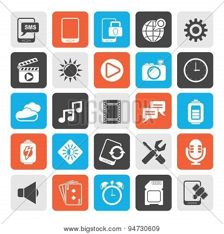 Silhouette Mobile Phone Interface icons